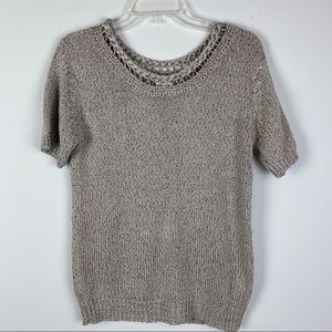 MOTH Tan Marled Woven Neck Sweater